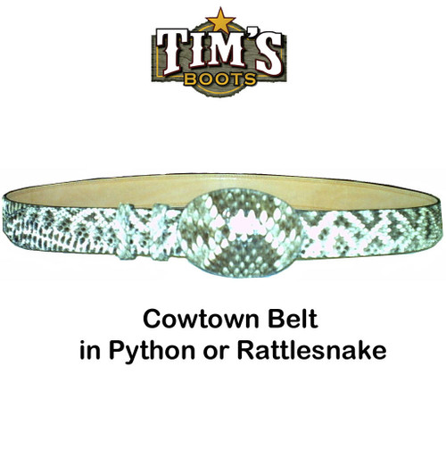 Cowtown Boots Cowtown Python or Rattlesnake Belt