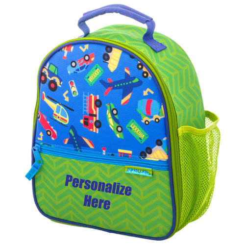 Embroidered Lunchbox Transportation  Design by Stephen Joseph all over print  personalized lunch box for boy
