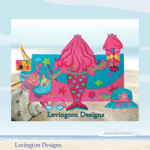 Mermaid Beach Set Mermaid towel, Beach Bag and Mermaid Googles and Mermaid Bucket Hat