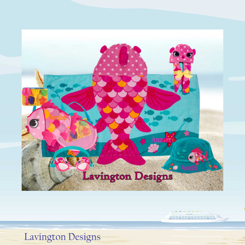 Pink Fish Beach Bag and Beach towel includes goggles and bucket hat