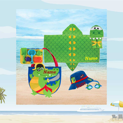 Beach set with hooded beach towel and Bucket hat and googles