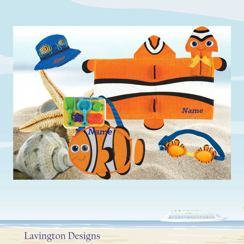 Clown Fish Personalized Hooded Beach Towel , Clown fish Bucket Hat, Clown Fish Bucket Hat and Googles
