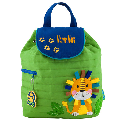 personalized quilted lion backpack