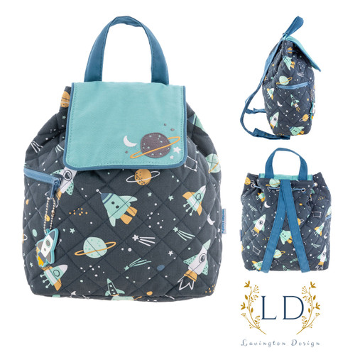 Outer Space Quilted Backpack by Stephen Joseph doubles as a backpack
