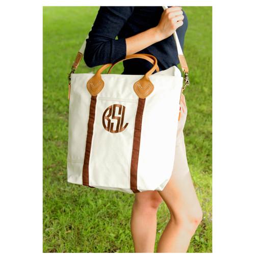 Brown Monogrammed Flight tote, Ladies personalized Travel BAg