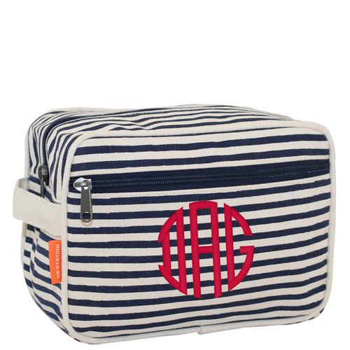 Navy Monogrammed Lined Travel Kit, Personalized Cosmetic Bag