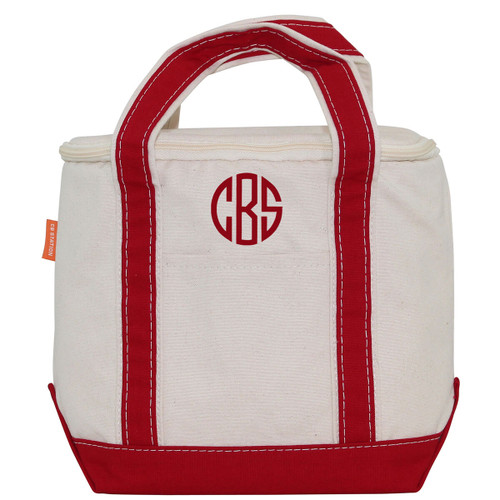 Red small lunch tote cooler monogrammed