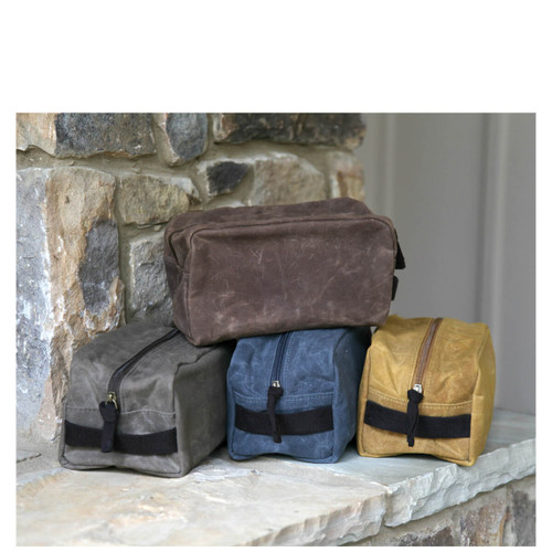 Waxed Canvas Travel Kits lined with plastic