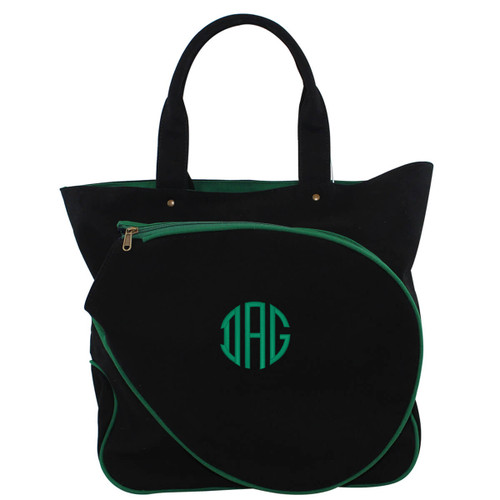 Black & Emerald  Tennis Tote Bags  Personalized