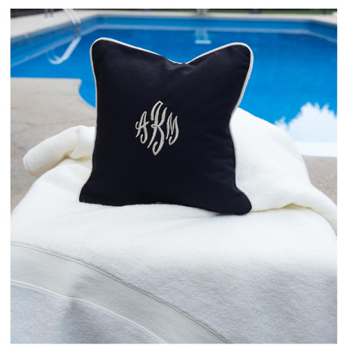 Monogrammed Pillow 16 x 16 Black canvas  toss pillow