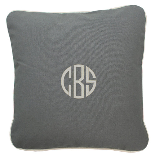 Gray Monogrammed  throw Pillow 16 x 16
