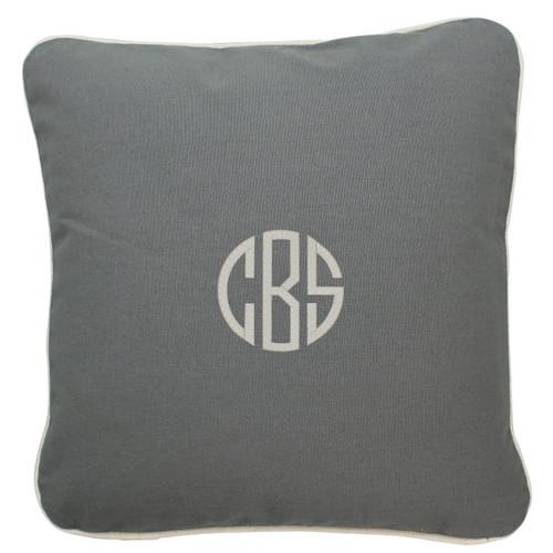 Gray Monogrammed  throw Pillow 16 x 16