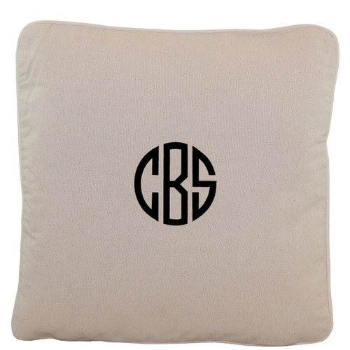 Monogrammed 16 x 16 Natural Canvas Pillow