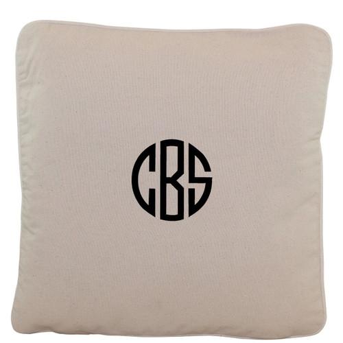Monogrammed 16 x 16 Natural Canvas Pillow