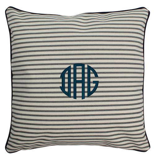 16 x 16 Monogrammed Pillow Gray stipe