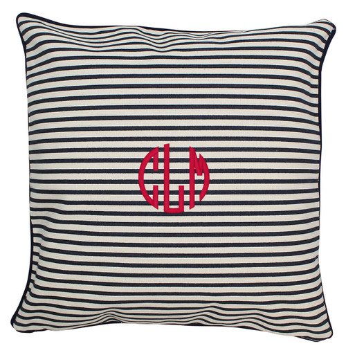 Monogrammed pillow 16x 16 Navy Stripe