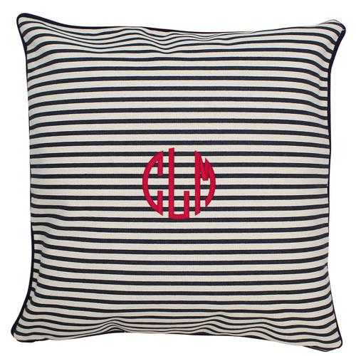 Monogrammed pillow 16x 16 Navy Stripe