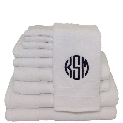 Monogrammed Towel Set White