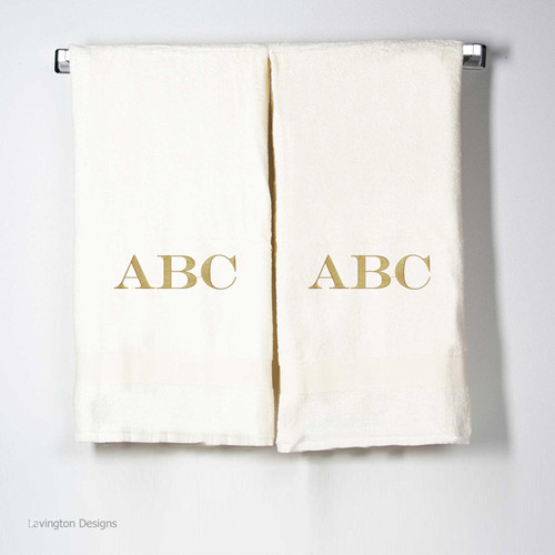 Monogrammed Bath Towels-Ivory