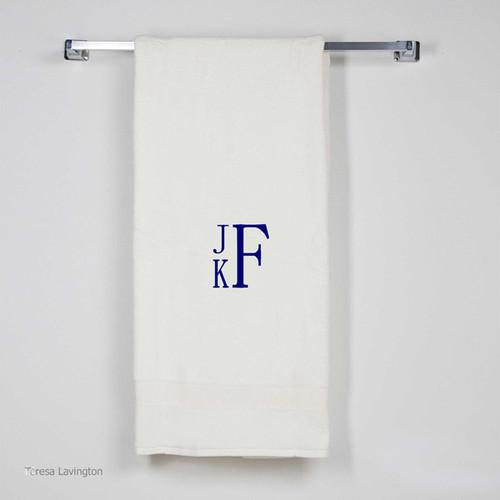 Monogrammed Bath Sheet Ivory