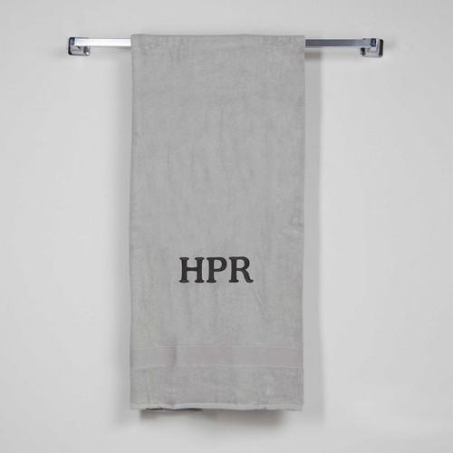 Grey Monogrammed bath sheet