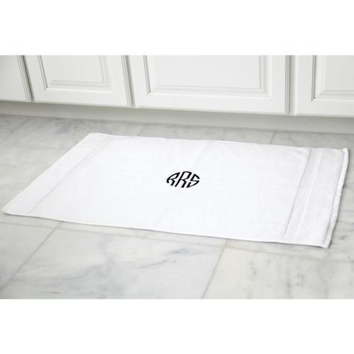 Monogrammed White Bath Mat