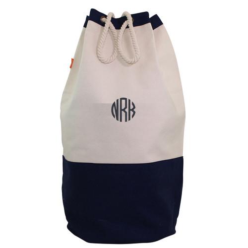 Monogrammed Navy Laundry Duffel