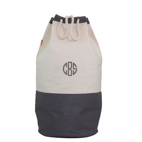 Monogrammed Canvas Laundry Duffel with Gray Accent