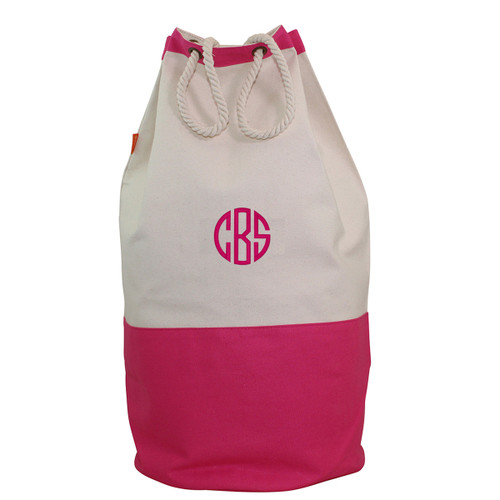 Monogrammed  Laundry Duffel pink