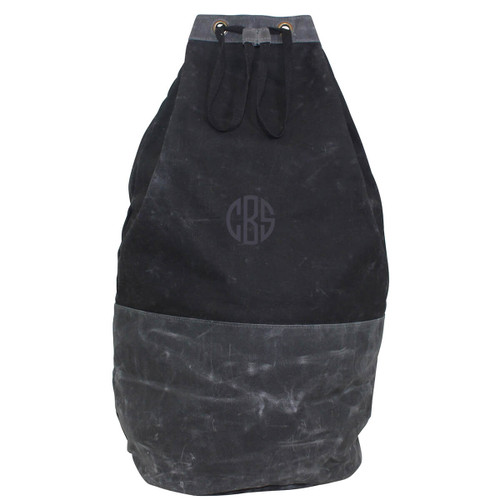 Monogrammed Laundry Duffel-Black