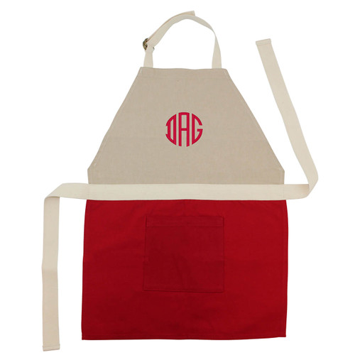 Monogrammed  Children's Aprons -Red