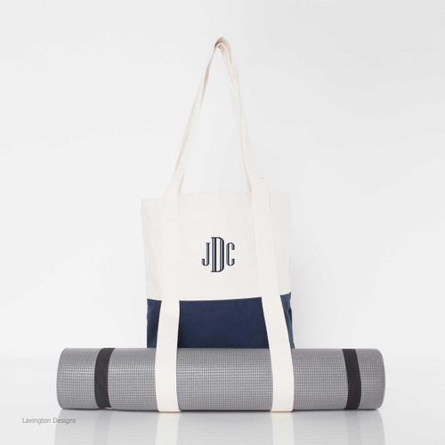 Custom Yoga Mat Bag with Navy Trim  and Natural Canvas