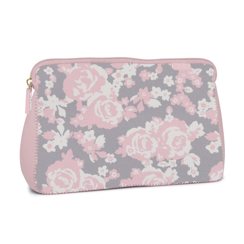 Monogrammed Neoprene Large Cosmetic Bag Rose Garden Design