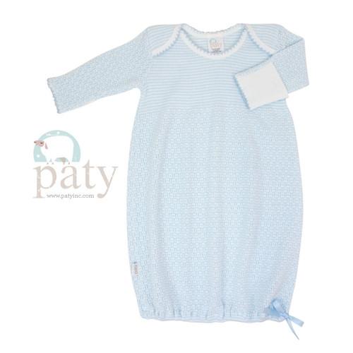 Paty Blue Newborn Baby Gown Monogrammed