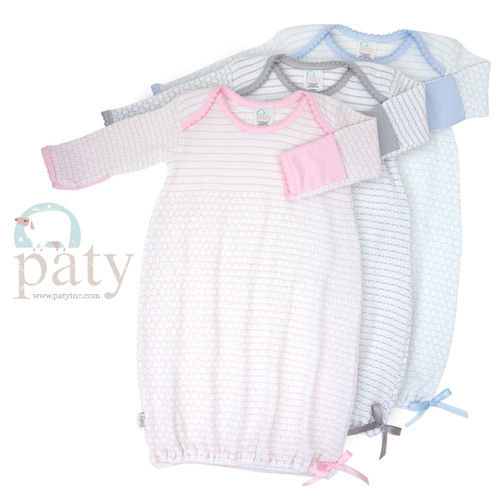 Monogrammed Pinstripe Paty Knit Baby Gowns for Newborns- Home Coming Outfits