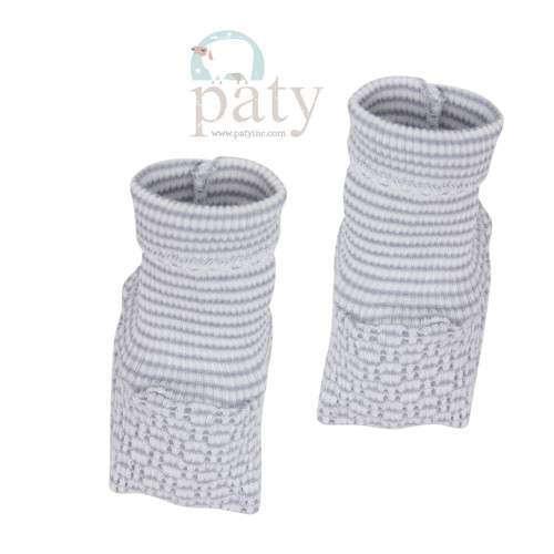Paty Knit baby Booties for Newborn coming home outfits Gray