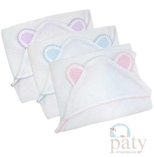 Paty Knit Baby Blanket with Bear Ears