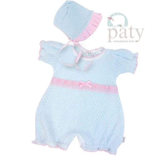 Paty Knit Bubble and Bonnet Outfit for Babies, Baby coming Home Outfit Monogrammed. Preemie -6mo