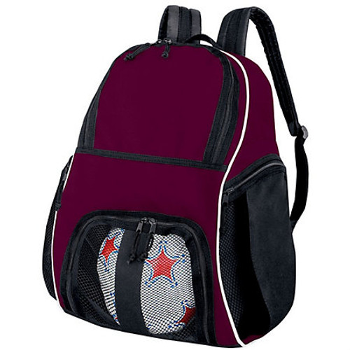 Maroon Basketball backpack, soccer ball, personalsized backpack