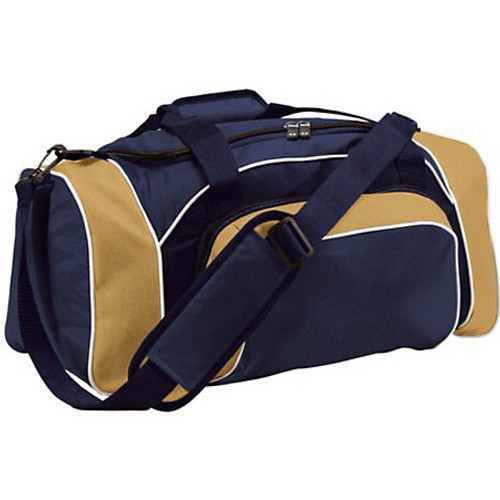 Navy and Vegas Gold Large Embroidered duffle Bag, League Duffel Bag