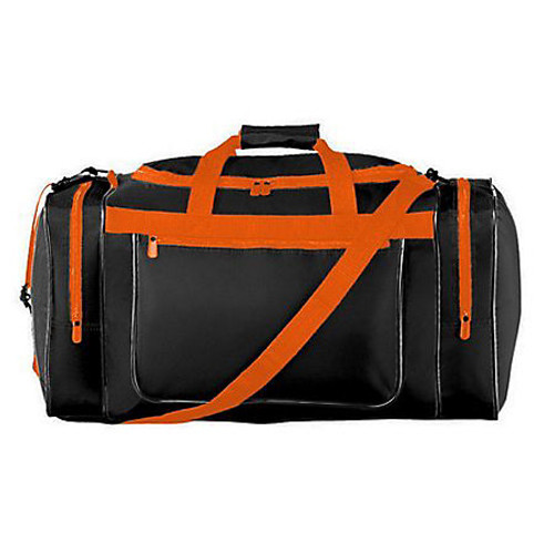 custom gear bag, Large Duffel Black with Orange trim