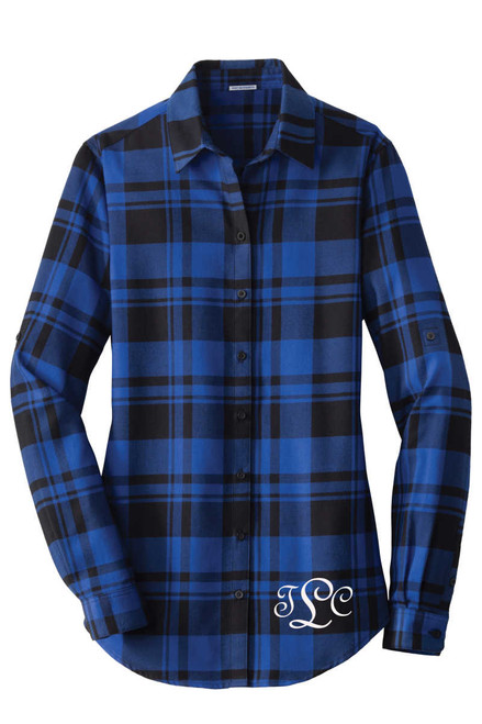 Monogrammed Plaid Flannel Tunic for Ladies