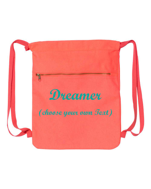 Orange Personalized Canvas cinch sak