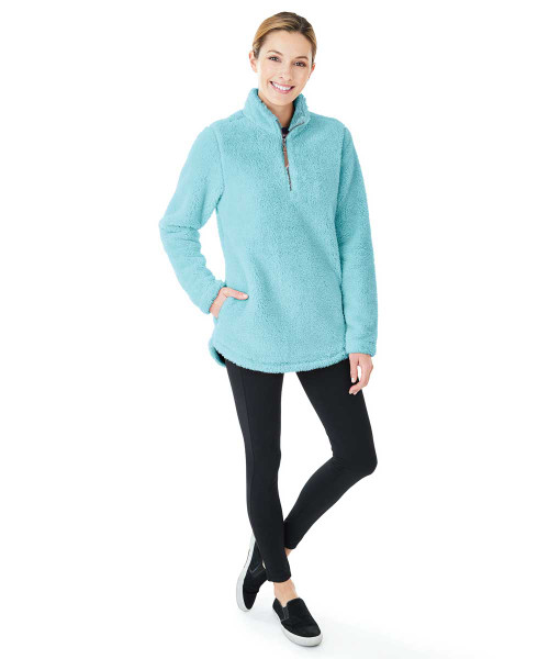 Monogrmmed Fleece Pullover Aqua Blue