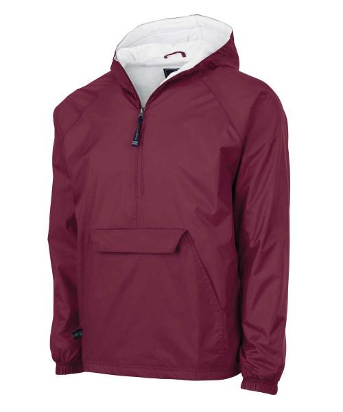 Maroon Monogrammed Pullover Rain Jacket
