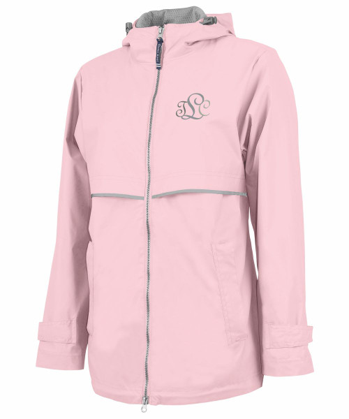 Monogrammed Womens New Englander rain Jacket by Charles River