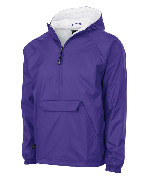 Purple Monogrammed Charles River Pull over Lined waind and water Resistant rain Jacket Folds in its own Pocket