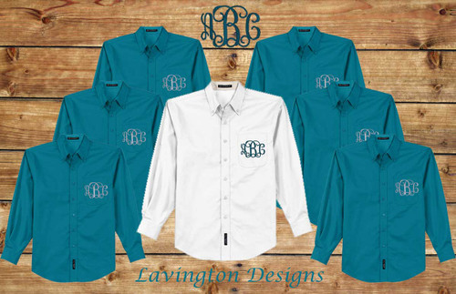 Monogrammed Teal Bridesmaid Oxfords, Button Down getting ready Photos
