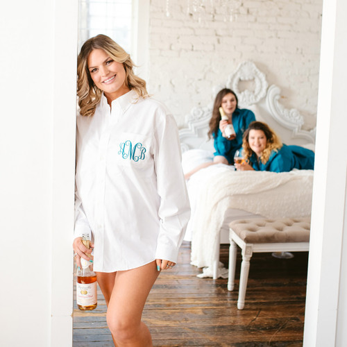 Teal Monogrammed  Bridesmaids oxfords