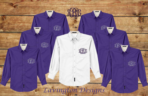 Purple Monogrammed Bridesmaid Button down Oxfords for getting ready photos